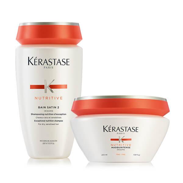 Kérastase NUTRITIVE OFFER(Bain Satin 2 250ML +masquintense fins/λεπτα 200ML) k rastase   nutritive   περιποίηση   ξηρά και ευαισθητοποιημένα μαλλιά μπούκλες