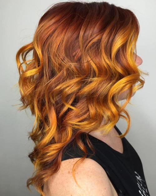 Χάλκινο και Κίτρινο Χρώμα Μαλλιών